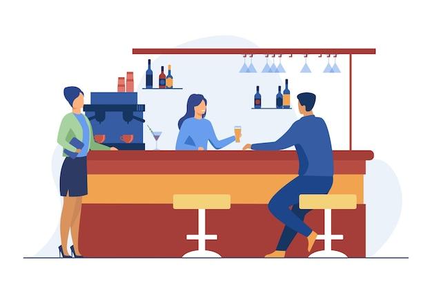 Barista che dà un bicchiere di birra al cliente maschio. bere, amministratore, illustrazione vettoriale piatto bancone bar. bevande alcoliche e servizio Vettore gratuito