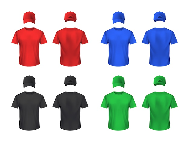 Basebal cap and tshirt colored sets Free Vector