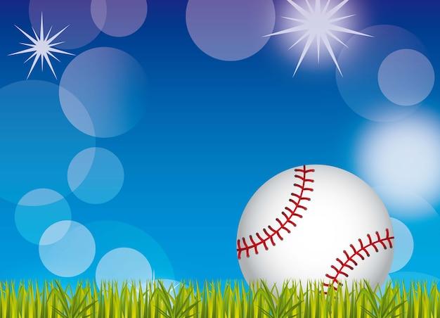 Baseball ball over grass and sky background vector illustration Premium Vector