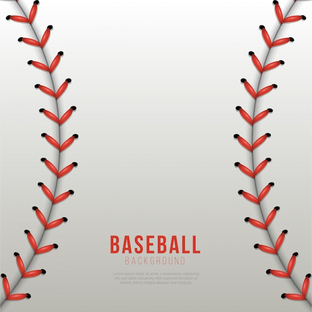 Baseball ball laces background Premium Vector