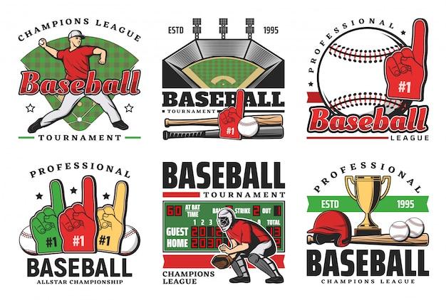 Baseball balls, sport game bats, trophy, players Premium Vector