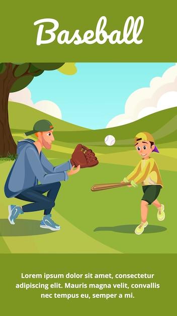 Baseball banner cartoon man teach boy to play Premium Vector