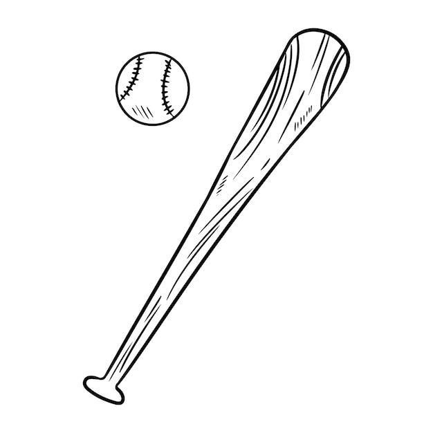 Baseball and baseball bat doodle hand drawn sketch Premium Vector