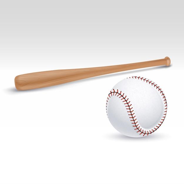 Baseball bat and ball vector illustration Premium Vector