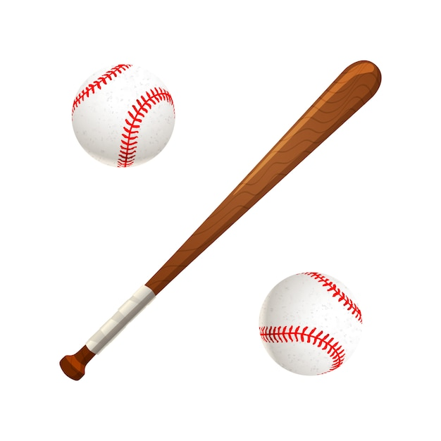 Baseball bat and balls isolated on white Premium Vector