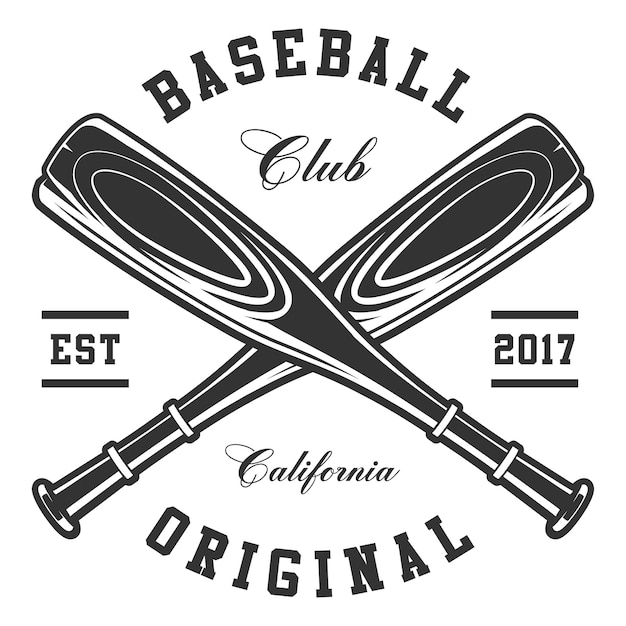 Baseball bats on white background. text is on the separate layer. Premium Vector