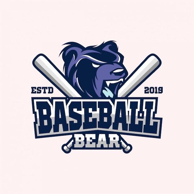 Baseball bear logo Premium Vector
