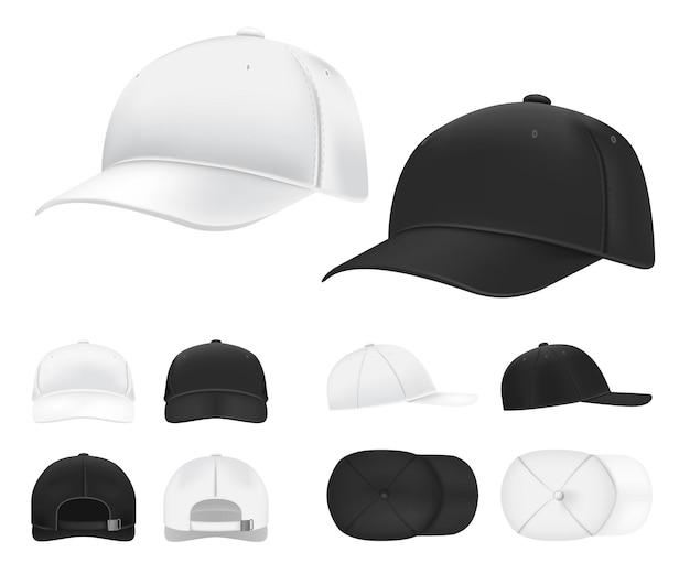야구 모자. 흑인과 백인 빈 스포츠 유니폼 모자 측면, 전면 및 후면보기 템플릿. 프리미엄 벡터