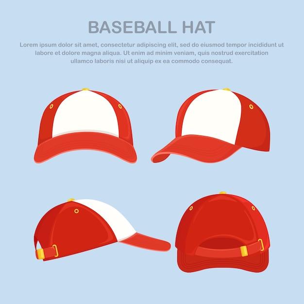 Baseball cap, hat isolated Premium Vector