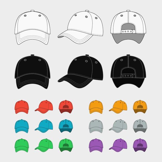 야구 모자 벡터 템플릿 집합입니다. 유니폼 패션, 빈 모자, 디자인 스포츠 의류. 무료 벡터