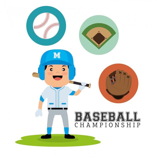 Baseball championship concept player bat ball glove and field Free Vector
