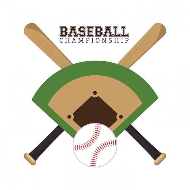 Baseball championship poster field ball and bats Free Vector