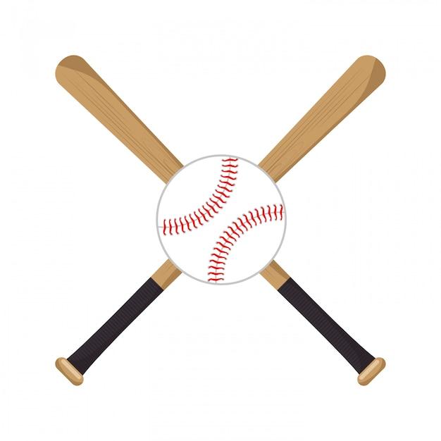 野球クロスコウモリボールアイコン 無料ベクター