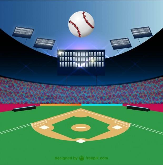 Baseball field and ball Free Vector