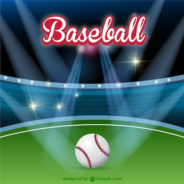 Baseball field with spotlights Free Vector