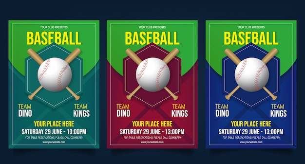 Baseball flyer template vector Premium Vector
