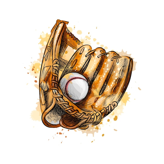 Baseball glove with ball from a splash of watercolor, hand drawn sketch.  illustration of paints Premium Vector