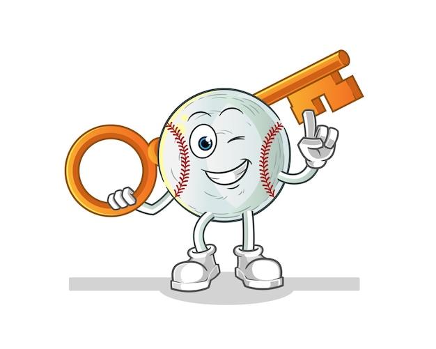Baseball holding a key illustration Premium Vector
