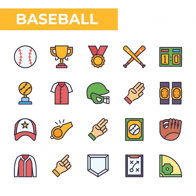 Baseball icon set, filled color style Premium Vector