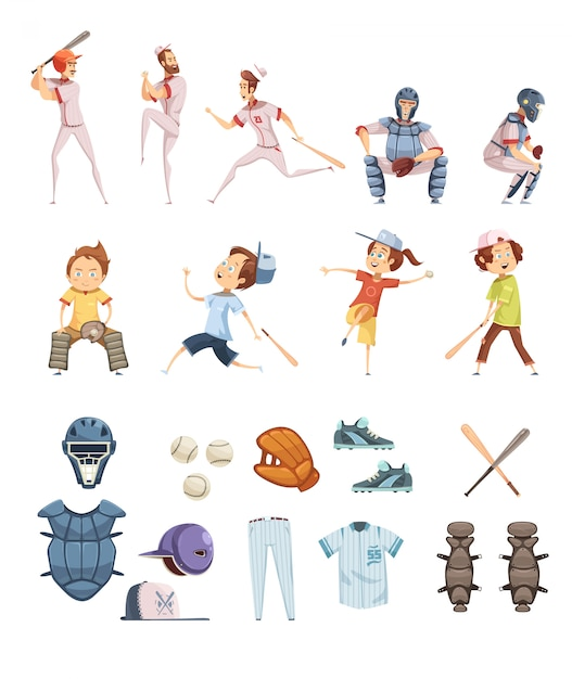 Baseball icons set in cartoon retro style with playing men and kids sports equipment Free Vector