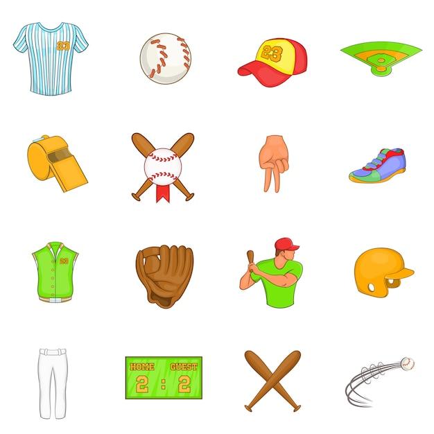 Baseball icons set Premium Vector