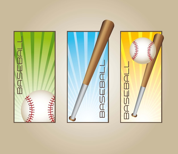 Baseball labels with balls and bats vector illustration Premium Vector