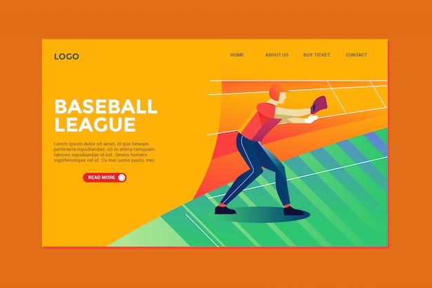 Baseball landing page Premium Vector