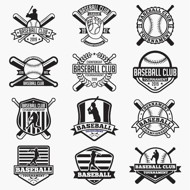 Baseball logo badge Premium Vector