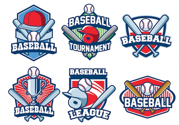 Baseball logo design set Premium Vector