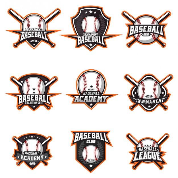 Baseball logo vector set Premium Vector
