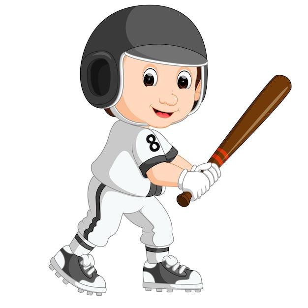 Baseball player kid cartoon Premium Vector