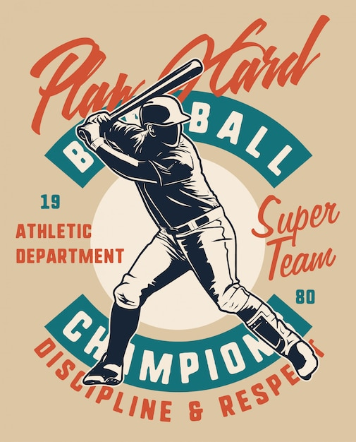 Baseball player play hard Premium Vector