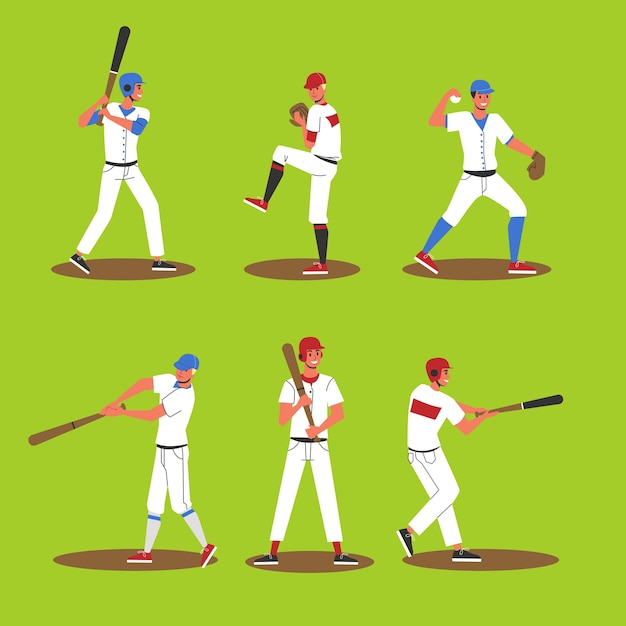 Baseball player set. collection of professional player Premium Vector