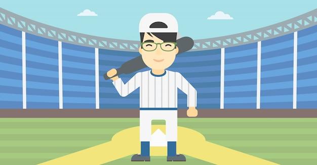 Baseball player with bat vector illustration. Premium Vector