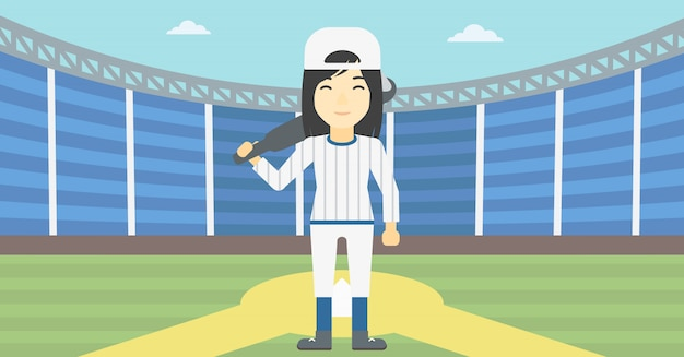 Baseball player with bat vector illustration. Premium Vector