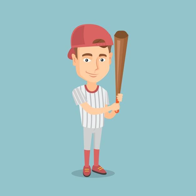 Baseball player with a bat vector illustration. Premium Vector