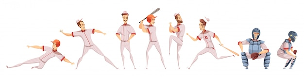Baseball players colored icons set Free Vector