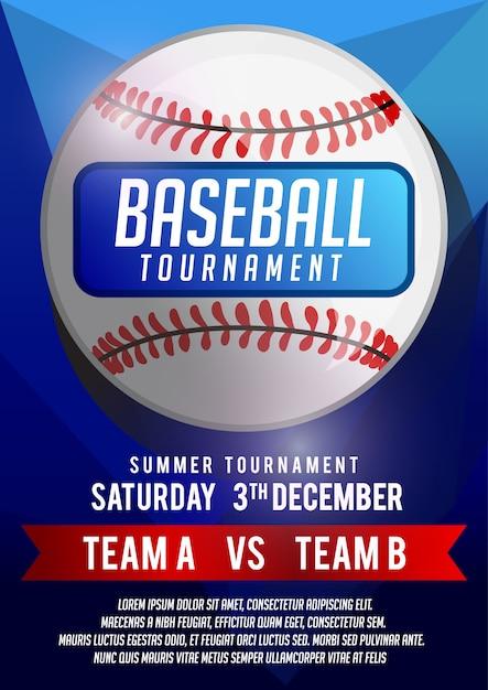 Baseball poster banner template Premium Vector