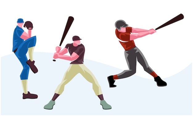 Baseball softball players in different poses. scalable and editable illustration Premium Vector