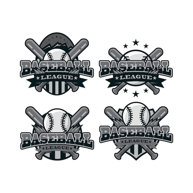 Baseball sport black white logo Premium Vector