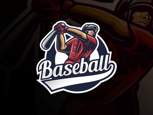 Baseball sport logo design. modern professional baseball vector badge. baseball player logo design vector template Premium Vector