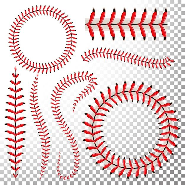 Baseball stitches  set Premium Vector