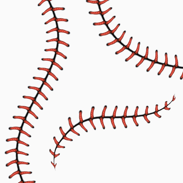 Baseball stitches, softball laces isolated on white. set. red stitch for ball Premium Vector