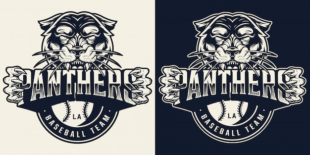 Emblema monocromatico vintage squadra di baseball Vettore gratuito