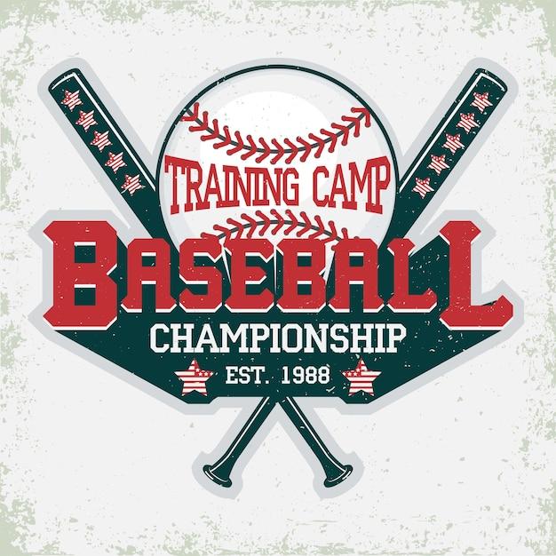 野球のタイポグラフィのエンブレム、スポーツのロゴ Premiumベクター