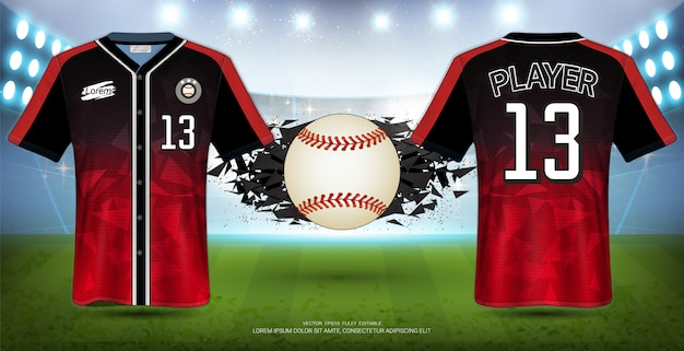Baseball uniforms & jerseys sport mockup template. Premium Vector