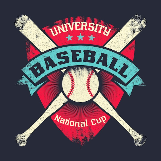 Baseball vintage grunge poster with shield, stars, crossed bats and ball Premium Vector