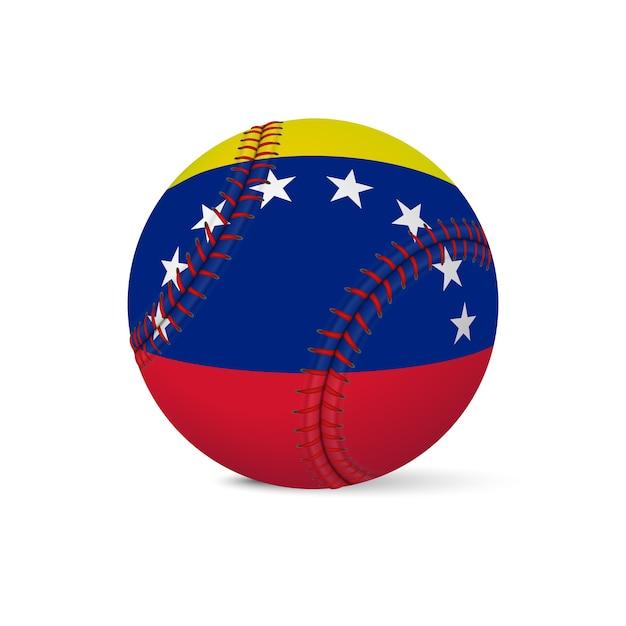 Бейсбол с флагом венесуэлы, изолированные на белом фоне. Premium векторы