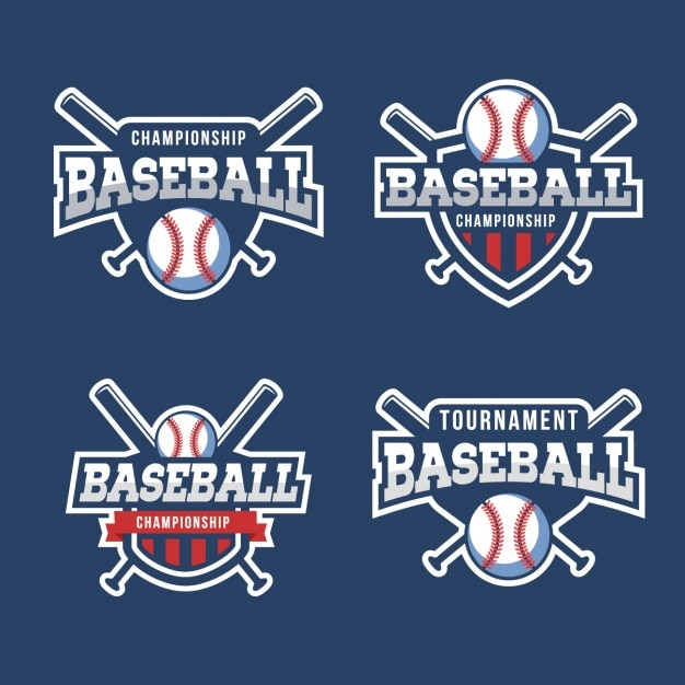 Коллекция baseball значки Бесплатные векторы