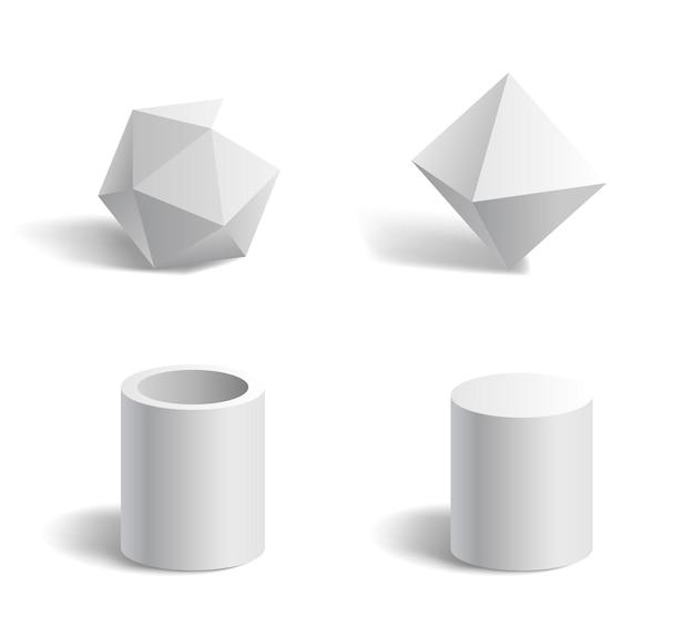 Basic 3d geometric shapes polygon, tube, cylinder white Premium Vector